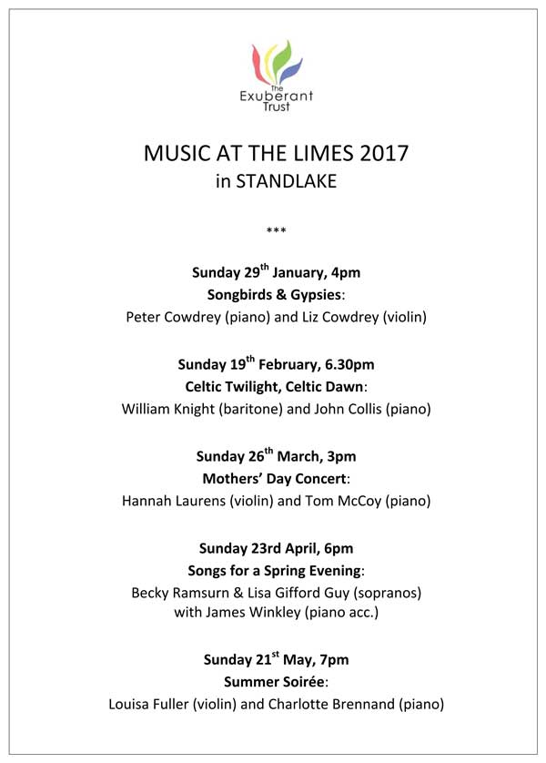 Music at The Limes Programme 2017